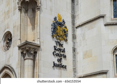 Strand, London - 5 June 2017 - The Royal Courts of Justice sign