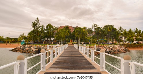 The strand pier in Townsville with Castle Hill in the background