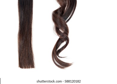 A strand of straight hair and curl on white isolate.