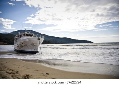 stranded boat after a storm