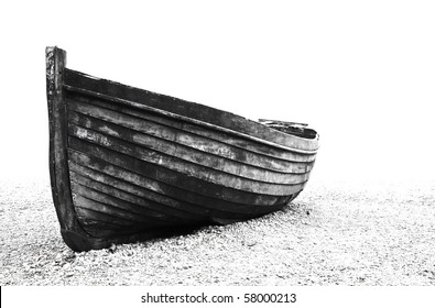 A stranded boat on Brighton beach