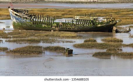 Stranded boat wreck