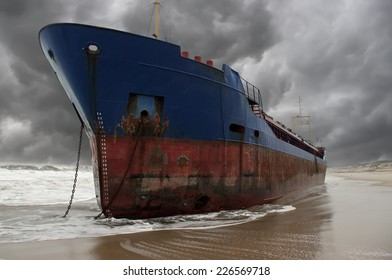 A stranded cargo ship after a big storm.