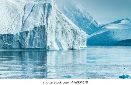 Stranded icebergs at the mouth of the Icefjord near Ilulissat, Greenland