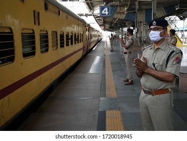 Stranded labours travelling in a special train during a government-imposed nationwide lockdown as a preventive measure against the COVID-19 coronavirus, in Prayagraj on May 02, 2020.