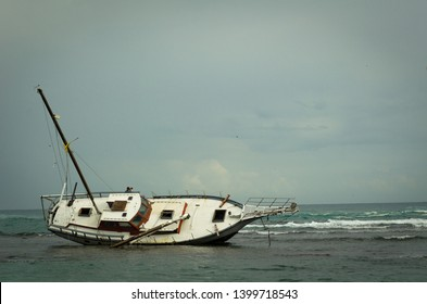 Stranded ship on the Carribian cost of Costa Rica