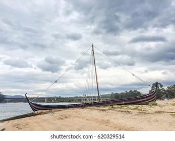 Stranded viking boat near Ulla river in Catoira