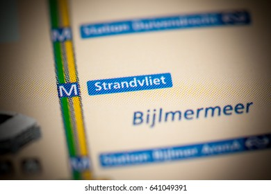Strandvliet Station. Amsterdam Metro map.