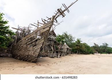 The strange design indy pirate bar and restaurant on the beach in Payam island at Ranong province Thailand on 28 April 2017