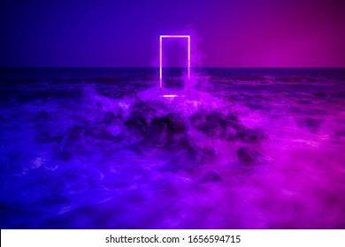 Strange fluorescent light layout with glowing neon frame, door and smoke on vibrant sea background. Copy space for poster, banner, invitation. Fairy mysterious, mystical Illustration. Fantasy Art