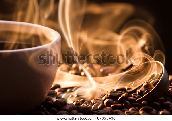 Strange golden smoke taking away from coffee seeds