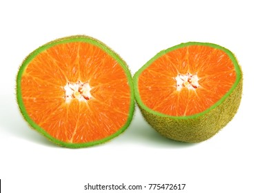 strange ibrid fruit orange-kiwi