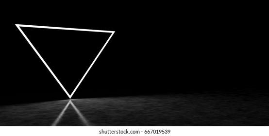 Strange inverted luminous pyramid. 3D Render
