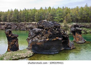 Strange lava formations at lake Myvatn, Iceland.
