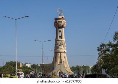 Strange memorial, the Tower of Africa at the entrance of Bamako, Mali, Africa
