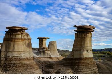 Strange mushrooms (hoodoos) in Drumheller, Canada. September 27, 2015.