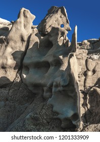 Strange, otherworldly geologic formations rise out of the ground amid gas and oil drilling in Fantasy Canyon in eastern Utah, USA.  These spires and hoodoos are some of the most unique in the world.