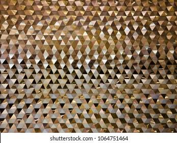 Strange reflection wall pattern. Reflective metal wall. Reflective Gold metal background.