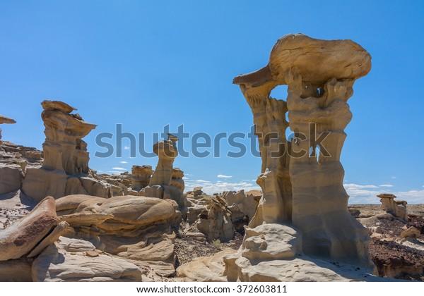 Strange Rock Formation in Bisti Badlands (Alien Throne)