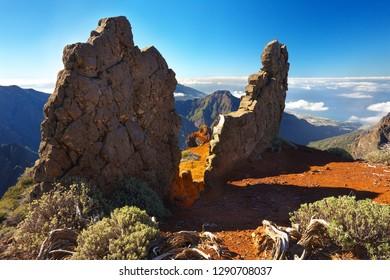 Strange rocky formations above the crater Caldera de Taburiente, Island of La Palma, Canary Islands, Spain