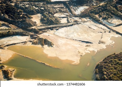 Strange sand and water landscape with reworked mine dumps