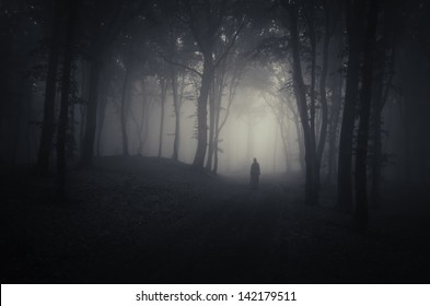 strange silhouette in a dark spooky forest at night