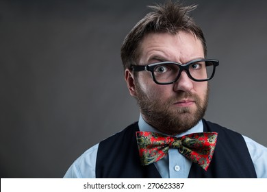 Strange suspicious businessman