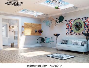 Strange, upside down room interior. 3D illustration creative concept idea