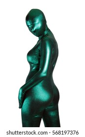 Strange Woman Wearing Green Zentai Masked Spy Suit