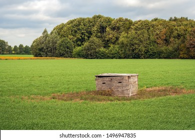 Strange wooden box in the middle of a large grassland in North Brabant, Netherlands. The soil around the crate remains untouched during the tillage of the field. The purpose of the coffin is unknown.