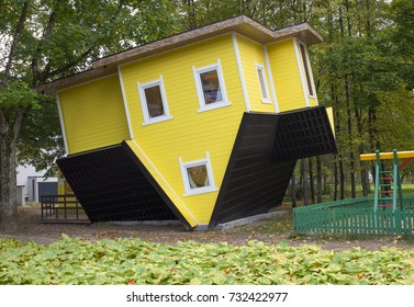 strange wooden inverted house in Lithuania ,Druskininkai