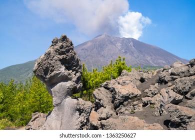 Strangely shaped rock of Sakurajima volcano at Arimura lava observatory in Kagoshima city, Japan.