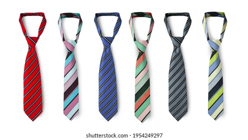 Strapped neckties in different colors, men's striped ties. Isolated on white background