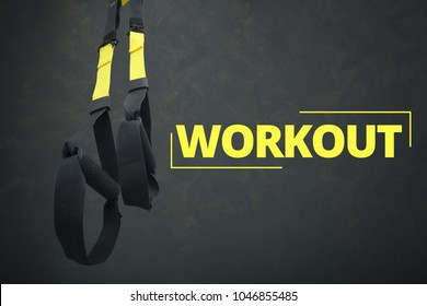 Straps training loop equipment. Black loop functional training equipment on grey background. Sport accessories. Fitness and Gym workout items for Healthy. Advertising banner