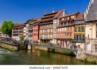 Strasbourg, Alsace, France - May 1, 2019: Sightseeing of France. Beautiful view of Petite France quarter. A popular attraction in Strasbourg
