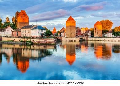 Strasbourg, Alsace, France. Medieval bridge Ponts Couverts.