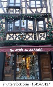 "Strasbourg, Alsace / France - November 9, 2018: Christmas products store called ""Un Noël en Alsace"""
