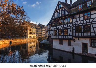 Strasbourg. Alsace, France. Traditional half-timbered houses reflected in river Ill.