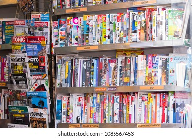 STRASBOURG - APR 29: Stand with Magazines and Newspapers in Strasbourg on April 29. 2018 in France