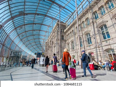 STRASBOURG - APR 30: Interior of Gare de Strasbourg the main Railway Station on April 30. 2018 in France