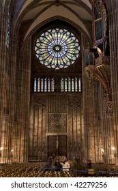 Strasbourg cathedral rose inside the west nave