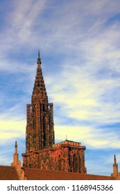 Strasbourg Cathedral steeple (XI century), stepped spire (capstan) 142 meters - one of the highest in the world