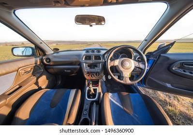Strasbourg, FRANCE - 06 JULY 2018: Subaru STI 2003 type UK. Interior with modify gauges.