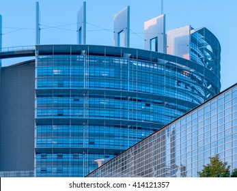 Strasbourg France 15 SEP 2015: Close up photography of the modern European Union or EU  Parliament building in Strasbourg (Alsace, France) made of glass, steel and concrete