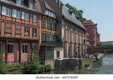 STRASBOURG - France - 25 May 2017 - traditional architecture and Rhine river at little France quarter in Strasbourg