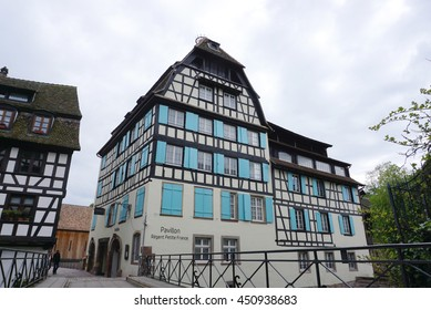 Strasbourg, France - 3 May,2016 :Beautiful old town of Strasbourg with people walking around on 3 May 2016 in Strasbourg, France