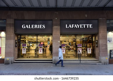 Strasbourg, France: 31 January 2020: It is possible to find the products of luxury brands in Galeries Lafayette store in the city of Strasbourg, France.