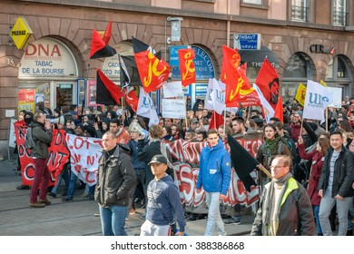 STRASBOURG, FRANCE - 9 MAR 2016: Slow marching of people as thousands demonstrate as part of nationwide day of protest against proposed labor reforms by Socialist Government