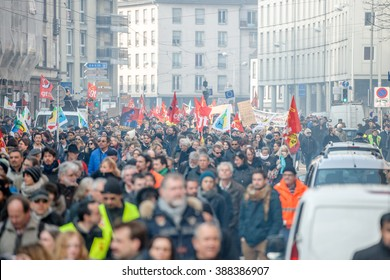STRASBOURG, FRANCE - 9 MAR 2016: Large crowd as thousands of people demonstrate as part of nationwide day of protest against proposed labor reforms by Socialist Government