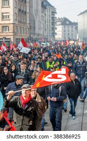 STRASBOURG, FRANCE - 9 MAR 2016: Large crowd perspective of thousands of people demonstrating as part of nationwide day of protest against proposed labor reforms by Socialist Government